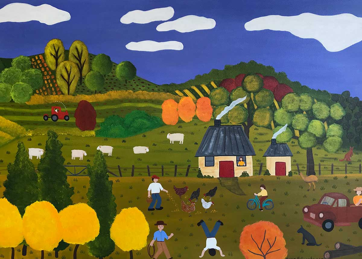 Annie Holcombe, Southern Highlands artist, Feeding the Chickens
