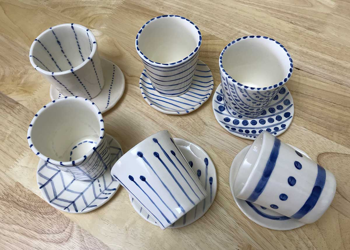 Naïve ceramic cups and saucers, Annie Holcombe, Southern Highlands artist