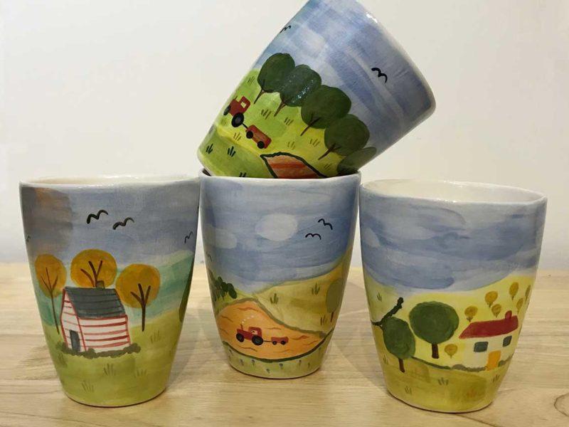 Naïve ceramic cups, Annie Holcombe, Southern Highlands artist